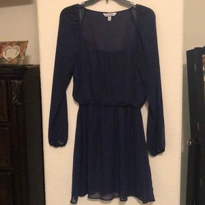 Sheer navy blue long sleeve dress